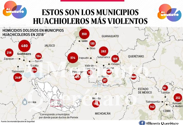 Los municipios huachicoleros más violentos
